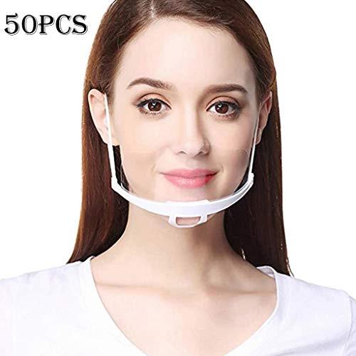 Dissme 1 zu 50 Stk Erwachsene Transparente Mundschild, Portable Mundschutz Schutzhülle Halstuch Gesichtsschutz für Frauen und Männer Küche Restaurant Service