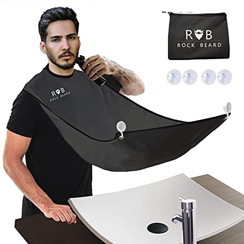 ROCK BEARD Beard Apron Cape for Men Trimming and Shaving, Waterproof and Non-Stick Beard Clippings Catcher Bib with 4 Suction Cups,Best Gift for Man/husband/boyfriend (Black)