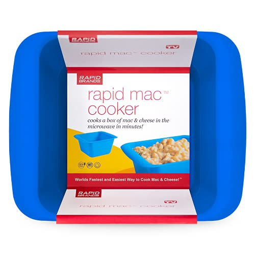 Rapid Mac Cooker   Microwave Macaroni & Cheese in 5 Minutes   Perfect for Dorm, Small Kitchen or Office   Dishwasher-Safe, Microwaveable, BPA-Free (Blue, 1-Pack)