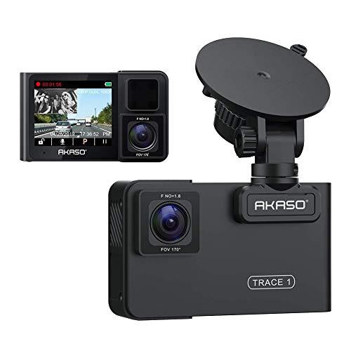 AKASO Dash CAM Cámara de Coche Videocámara 1080P FHD 340° Angular Doble Cámara para Coche Visión Nocturna Modo de estacionamiento G-Sensor