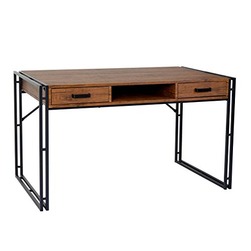 Mendler Schreibtisch HWC-A27, Bürotisch Computertisch, 122x70cm 3D-Struktur ~ Wildeiche-Optik