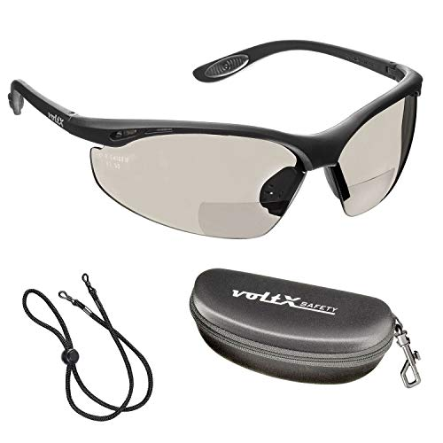 voltX 'CONSTRUCTOR' BIFOCAL Reading Safety Glasses (MIRROR +2.0 Dioptre INDOOR/OUTDOOR LENS) CE EN166F certified/Cycling Sports Glasses includes safety cord + Rigid Clamshell Safety Case + UV400 lens
