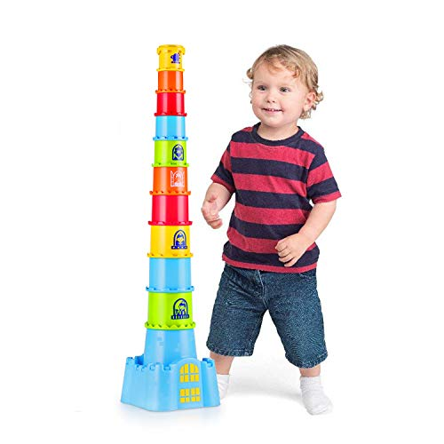 Happkid Stacking Cups with Castle Stacker for Toddler,...