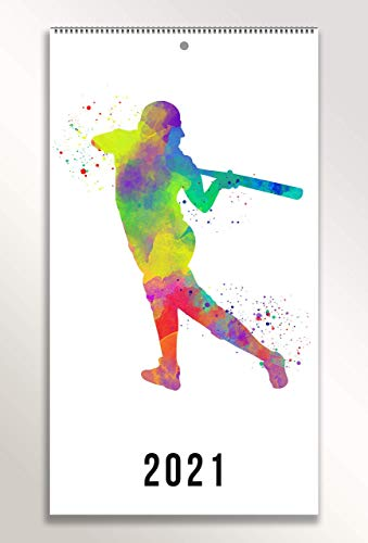 Girl Softball Player Wall Calendar 2021, 9.5x17.25 inch Annual Hanging Wall Calendar. 13 Monthly Flip At A Glance Calendar. Gift Idea For Softball Players Coaches and Fans