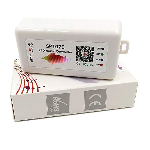 Controlador de música Bluetooth SP107E iOS/Android APP para WS2811 WS2812B WS2815 WS2813 WS2801 SK6812 WS2815 SK9822 APA102 etc. Panel de luz LED con tira de píxeles (SP107E)