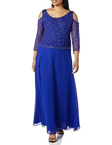 J Kara Women's Cold Shoulder Beaded Gown, Royal/Mercury, 16 (Apparel)