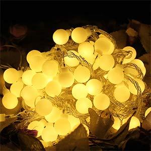Lichterkette, Innen-/Außenbereich, Pulchram, 100 LEDs, 10 m, Lichtervorhang, Weihnachtskugeln, wasserdicht, dekorative Lichter für Party, Patio, Party, Hochzeit, Warmweiß
