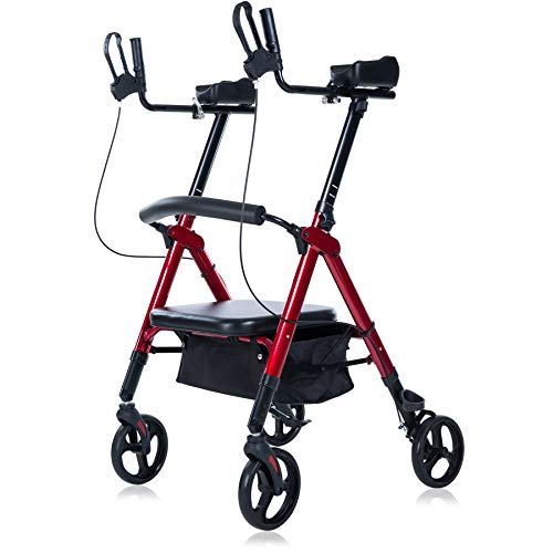 ELENKER Heavy Duty Upright Walker, Bariatric Stand Up Rollator Walker with Extra Wide Padded Seat & Backrest, Supports Up to 500 lbs, for Senior (Red)