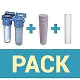 Desineo Pack de Filtration d'eau Porte Filtre Double + Filtre à sédiment 50 et 20 microns