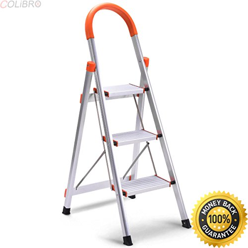 COLIBROX--Non-slip 3 Step Aluminum Ladder Folding Platform Stool 330 lbs Load Capacity New. gorilla ladders aluminum 3-step ultra-light step stool. step ladder home depot. ladders at harbor freight.
