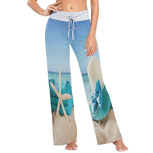 Womens Pajama Lounge Pants Summer Vacation Starfish Beach Wide Leg Casual Palazzo Pj Sleep Pants Laides