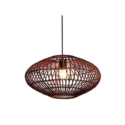 Luz colgante moderna Chandelier de la linterna hueca china hecha a mano, lámpara de araña tejida de ratán E27 con pantalla de transmisión de alta luz, 40 × 26cm Adecuado for cafetería Attic Sala de co