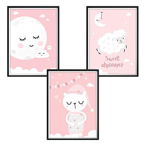 luvel YOUNG FASHION 3er Set Poster für Kinderzimmer (Rosa, P61)