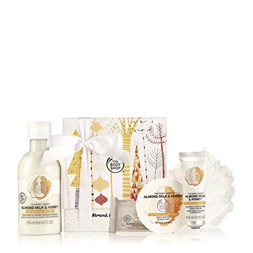 The Body Shop Festliches Geschenk Set Almond Milk & Honey Duschcreme, Seife, Body Butter und Handcreme