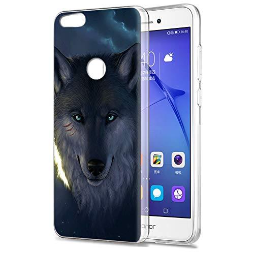 Zhuofan Plus Funda Huawei P8 Lite 2017, Silicona Suave Clara Transparent TPU Gel con Diseño Print Pattern Anti-rasguños Shockproof Protactivo Cover para Huawei P8 Lite 2017, Lobo