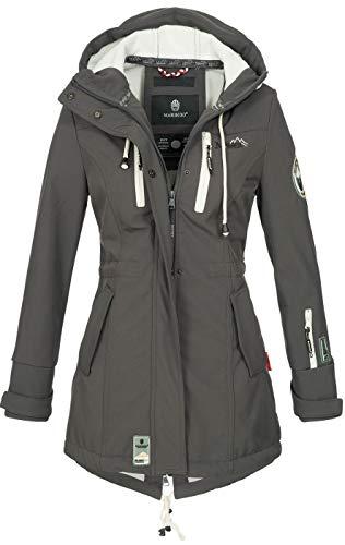 Marikoo Damen Winter Jacke Winterjacke Mantel Outdoor wasserabweisend Softshell B614 [B614-Zimt-Anthrazit-Gr.XS]