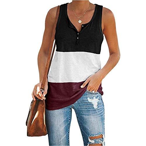 WEDFGX Verano Vintage Camiseta Puls tamaño Mujer Casual Suelto Cuello en U Chaleco sin Mangas Patchwork Streetwear Camiseta de Gran tamaño Tops