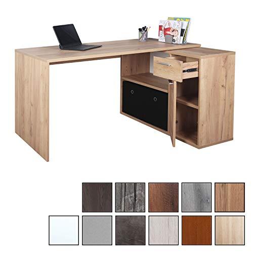 RICOO WM083-EG, Schreibtisch, Holz Eiche Gold, Winkelkombination, Arbeitstisch, Bürotisch, Computertisch, Eckschreibtisch, Akten Schrank Lowboard