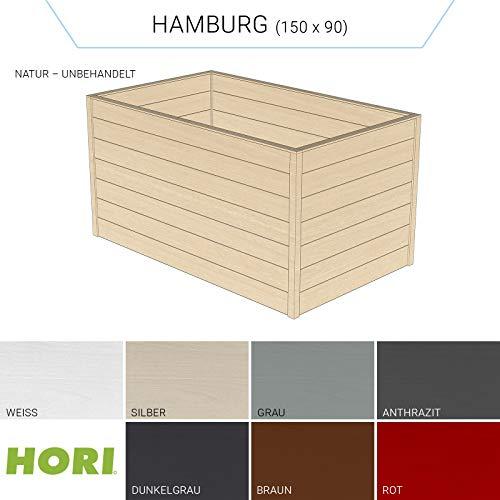 Hori® Hochbeet für den Garten I Gartenbeet, Blumenkasten aus Holz I Modell Hamburg (90x150) I Natur