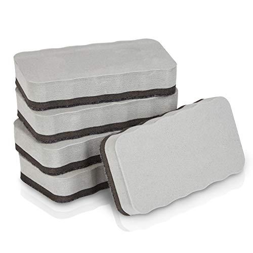 WINTEX Juego de 5 borradores de pizarra, magnéticos, adecuado para pizarras blancas, pizarras comunes, rotafolios y superficies de vidrio, limpia y seca. ⭐
