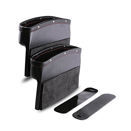 Car Seat Pockets PU Leather Car Console Side Organizer Seat Gap Filler Catch Caddy with Non-Slip Mat...