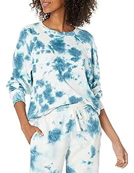 The Drop Caroline Sweat-shirt À Manches Longues Raglan, en Polaire pour Femme, Bleu à l'aube, M