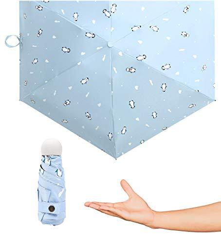 Gettop Folding Umbrella, Portable Double Layer Travel Small Pocket Umbrella Super Light Weight Sunblock Uv Protection Mini Rain Resistant Durable Strong Unisexe