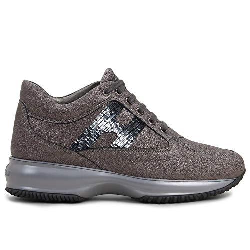 Hogan Sneakers Donna Interactive Grigie con Paillettes - HXW00N05640 LF5B401 - Taglia 35