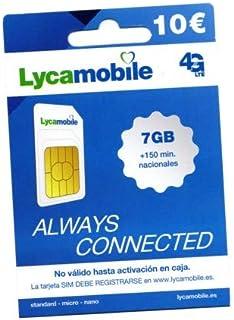 Tarjeta SIM prepago Lycamobile - Tarifa de 150 Minutos Nacionales + 7GB - Registrate TÚ Mismo - Cobertura Movistar
