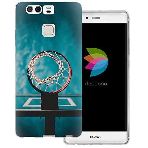 dessana Basketball Transparente Schutzhülle Handy Case Cover Tasche für Huawei P9 Wurfnetz Ball