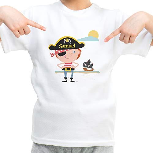LolaPix Camiseta Piratas Personalizada con Nombre/Texto. Regalos Infantiles Personalizados. Varios Diseños a...