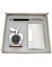 Lavanaya Silver Steel 3 in 1 Metal Pen, Card Holder and Table Clock