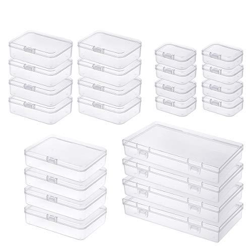 24 Stück gemischte Größen Rechteckige leere Mini-Aufbewahrungsbox für Mini-Kunststoff-Organizer mit Klappdeckel für kleine Gegenstände und andere Bastelprojekte