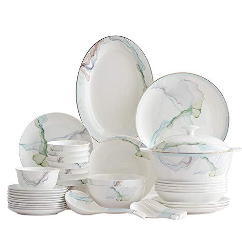 WECDS-E Juego de 56 Piezas de vajilla y Platos de Porcelana China, diseño de combinación de vajilla Simple y de Moda para Uso doméstico