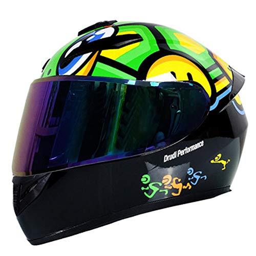 RTGE Casco Integral de Motocicleta para Adultos con 3 Opciones de Lentes certificados Dot Cascos de protección para Motocicletas para Hombres y Mujeres para Viajes Diarios(Tortuga Negra),C,58~59cm L