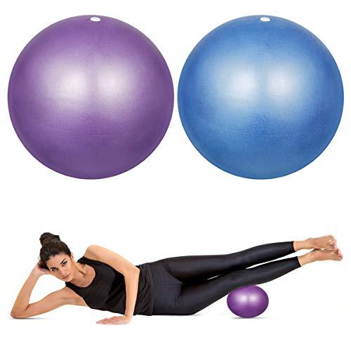 HQdeal 2 Piezas 23cm Pelota de Ejercicio de Pilates Mini Pelota Pilates Balones Yoga, Azul y Morado