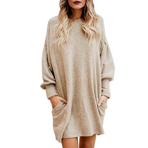 NPRADLA 2018 Damen Pullover Winter Oversize Lang Frauen Einfarbig O Ausschnitt Mit Tasche Langarm Casual Lose