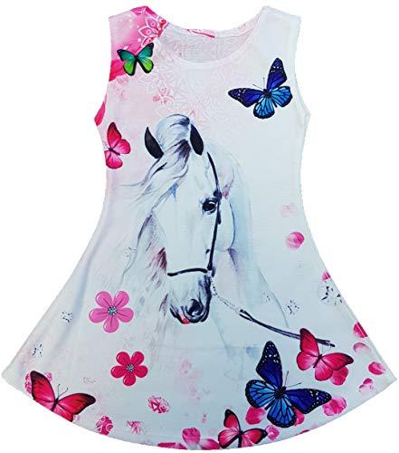 Vestido de verano para niña con tirantes, túnica, talla 116-146 cm, diseño de oso de peluche, unicornio, caballo Diamante 128