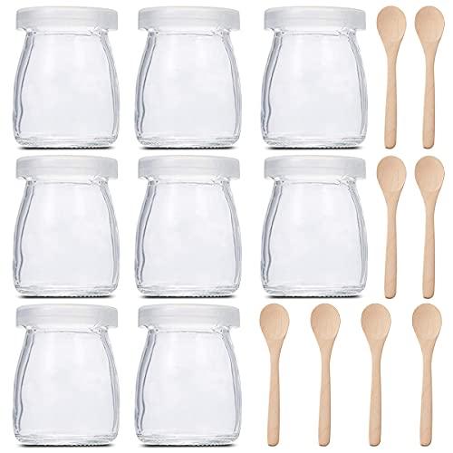 Tarros De Yogurt,Jicyor 10 Pieza Botellas De Pudín Con Tapas De Plástico Lindo Diseño De Transparente Yogurt Leche Con 8 Cucharas Postres y Natillas para Los Potitos De Los Bebés (100ml )