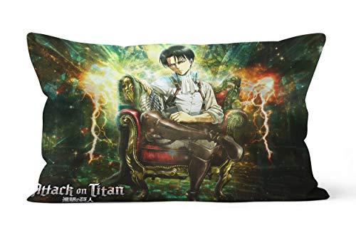 Funda de almohada Attack on Titan-Levi.Ackerman regalo de 50 x 75 cm, suave y cómoda.