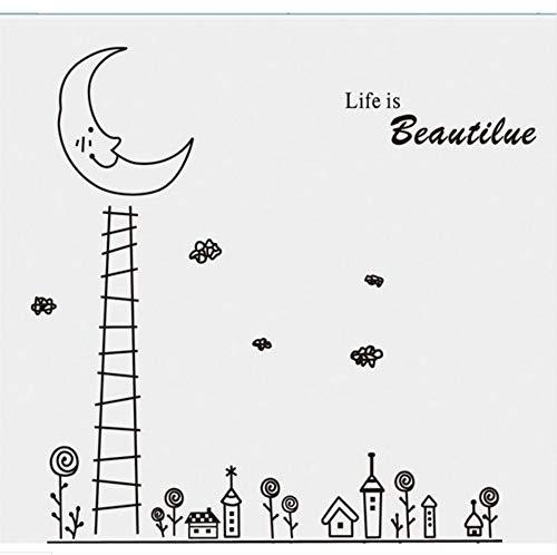 Zfkdsd Cartoon Handtuch Moon City Wandaufkleber Für Kinderzimmer Baby Kinderzimmer Kindergarten Dekoration An Der Wand Wohnzimmer Schlafzimmer