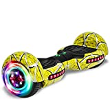 cho Colorful Wheels Series Hoverboard Safety Certified Hover Board Electric Scooter with Built in Speaker Smart Self Balancing Wheels (Yellow)