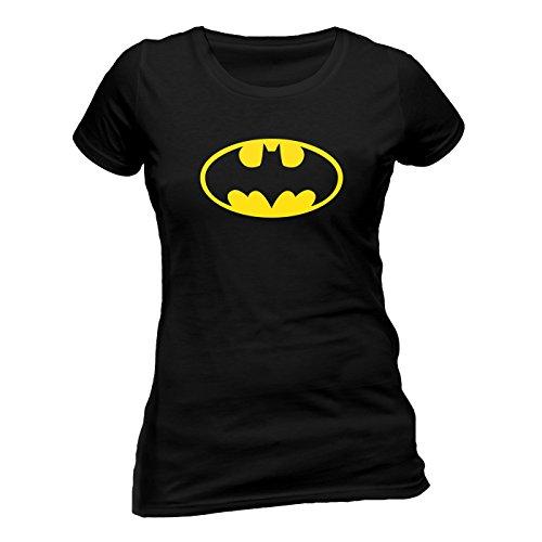 Batman Logo Skinny Fitted Damen T-Shirt Offizielles Lizenzprodukt|schwarz-M