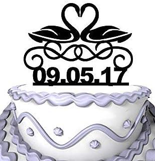 Decoración personalizada para tarta de boda Cheyan, 2 siluetas de cisnes para compromiso, personaliza tu fecha de boda