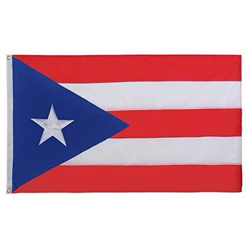 210 Nylon Puerto Rico Flag 3x5 feet- Embroidered Star, Sewn Stripes, Double Stitched- Puerto Rican Flag for Wall- Beautiful, Vibrant Colors, Canvas Header, Brass Grommets, Isla del Encanto