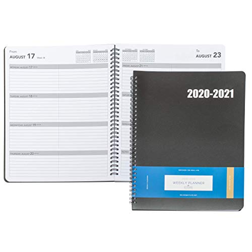 Delane Weekly Planner 2020-2021 - Spiral Bound Hourly Appointment Book – Schedule Your School or Business Calendar – Annual Organizer Agenda with Premium Paper, Black
