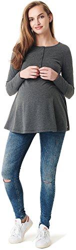 Esprit Maternity T-Shirt Nursing LS Camiseta de Manga Larga premamá, Gris (Dark Grey Melange 008), M para Mujer