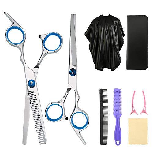 XXRUG Professionnel Coiffure kit Ciseaux, 8-Pack Coupe de Cheveux Set Barber Salon Accueil Shear Kit Hommes Femmes Animaux