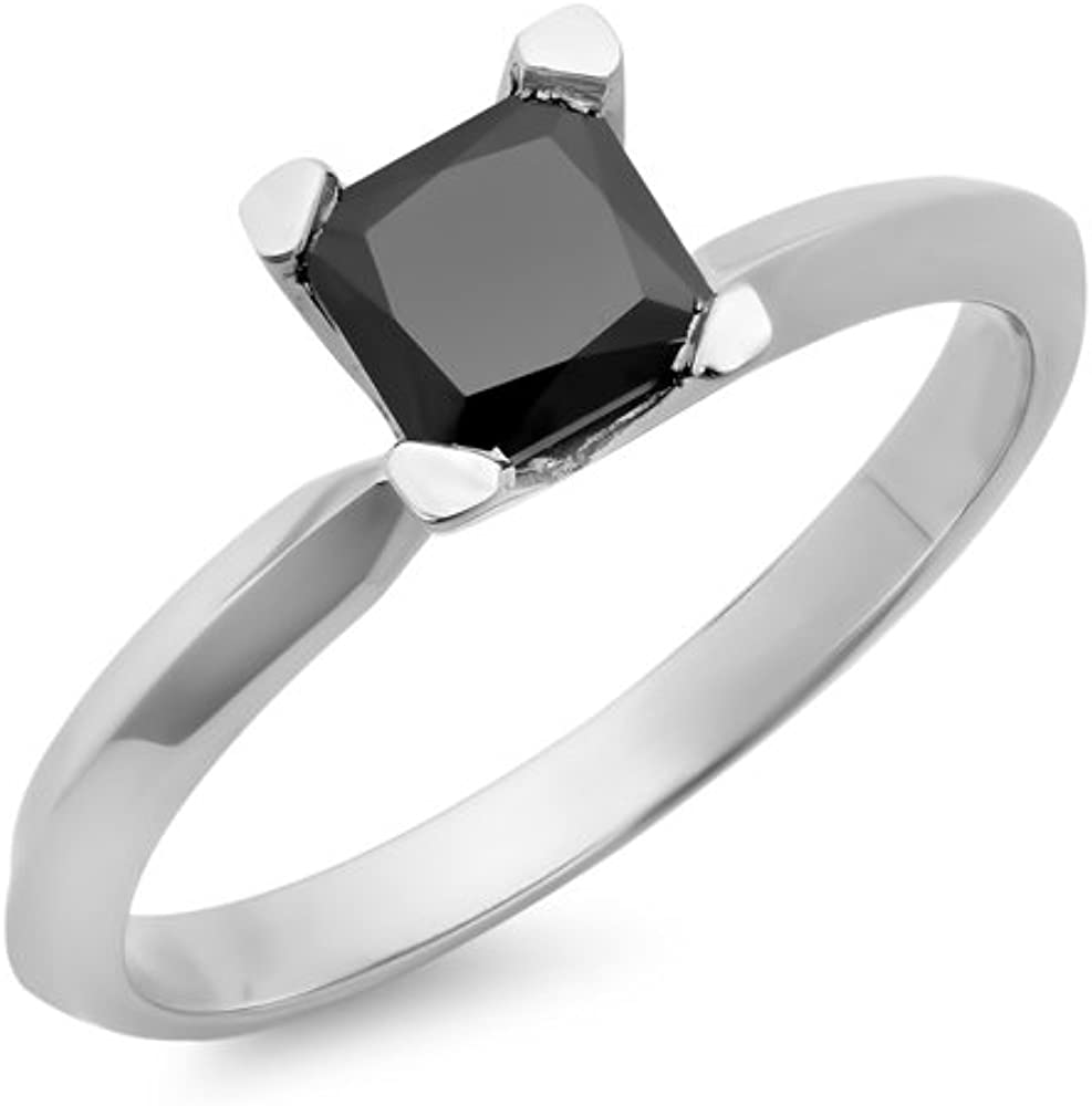 Dazzlingrock Collection 10K Princess Cut Black Diamond Ladies Solitaire Bridal Engagement Ring, White Gold
