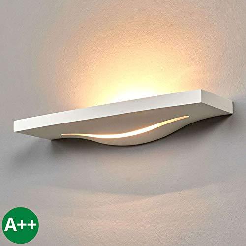 Lindby Wandleuchte, Wandlampe Innen 'Lilia' dimmbar (Modern) in Weiß aus Gips/Ton u.a. für Flur & Treppenhaus (2 flammig, G9, A++) - Wandfluter, Wandstrahler, Wandbeleuchtung Schlafzimmer /